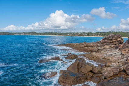 A view of Mollymook from the headland rocks.
