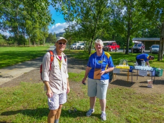 Phil and one of the volunteers at a checkpoint.