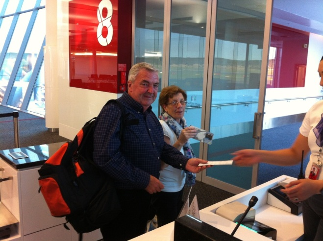 Mum and dad at the departure gate at Canberra Aiport