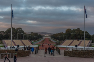 Looking out down ANZAC parade to the Parliament buildings