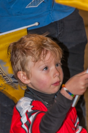 Owen waves his flag
