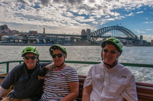 Graeme, Mary Lou, & Jack crossing the harbour