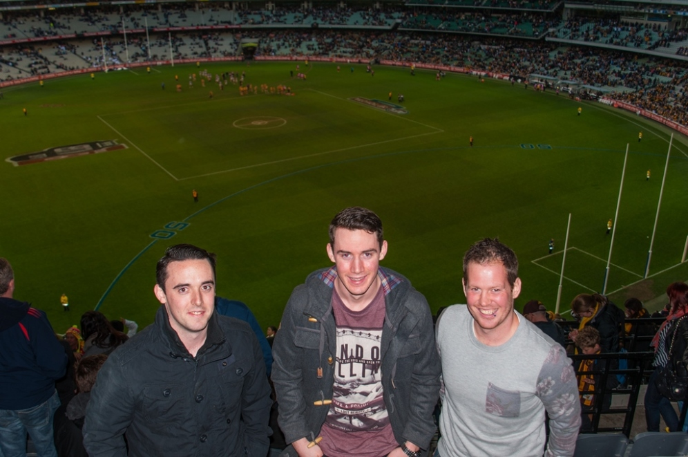 Rory, Aaron and Dave at the game.