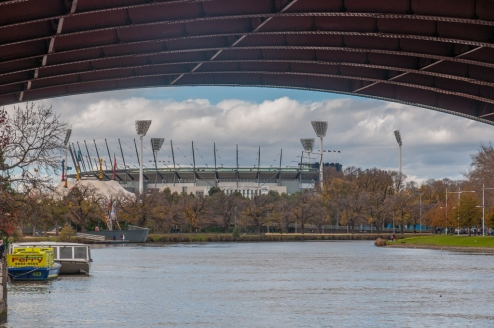 The MCG sits along side the Yarra river.