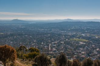 The view from the top looking down into the Woden Valley, Civic and the Telstra Tower on top of Black Mountain are in the distance.