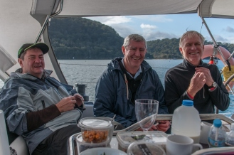 Glenn, Bernie and Glenn share a joke.