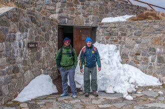 Sankalp and James outside the toilet block at top of the Summit Road.