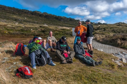 Last rest before the final climb up to Charlotte Pass