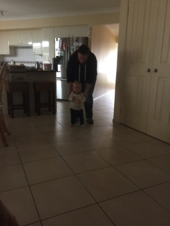 Lucy about to take her first steps