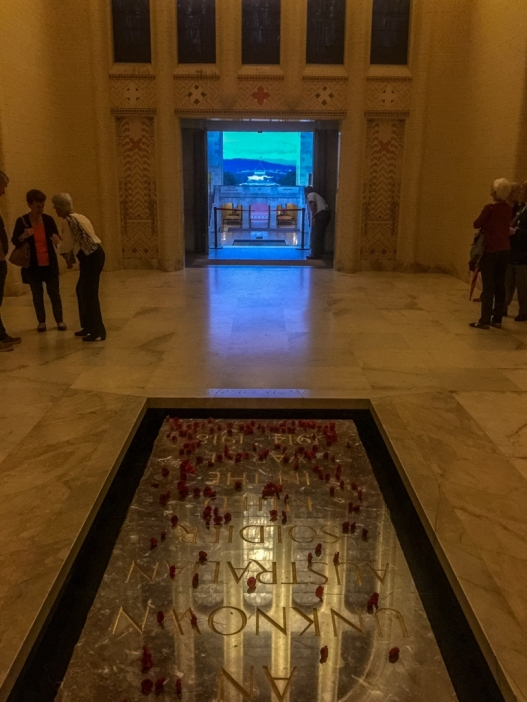 The tomb of the unknown soldier inside the Hall of Memory